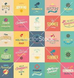 Summer icons signs by DAVIDS47 on VectorStock®