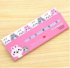 Cute Post It Index Sleeping Cat Sticky Note Stationary Pink Blue Yellow 3 Color