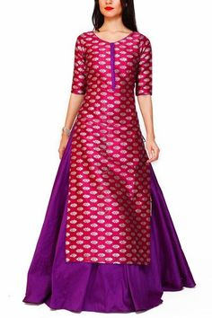 Elegance is made effortless with this timeless brocade tunic paired with a classic lehenga for every traditional occassion Punjabi Dress, Saree Dress, Pakistani Dresses, Indian Dresses, Indian Outfits, Anarkali, Lehenga, Patiala Salwar, Kurti