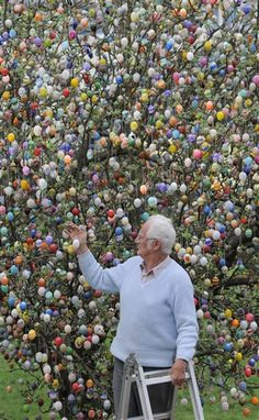 Can you believe this man's tree is decorated with 9,800 decorated Easter Eggs?  Wow!