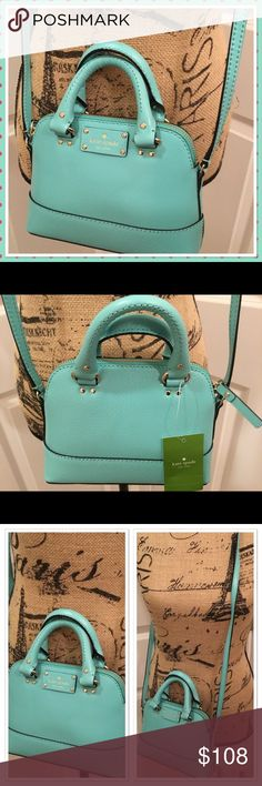 """Kate Spade Mini Rachelle Crossbody Fresh Air NWT This is a brand new with tags Kate Spade Mini Rachelle Wellesley crossbody bag.  The shade is Fresh Air, which would describe as a very pretty blue.  Pebbled leather.  Gold hardware.  Measures about 6"""" x 8"""" x 2 1/2"""", with 3"""" handles and an adjustable 23"""" crossbody strap. kate spade Bags Crossbody Bags"""