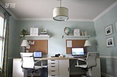 16 Ideas for the Home Office Desk for Two - # for . - 16 Ideas for the Home Office Desk for Two – - Mesa Home Office, Home Office Space, Home Office Desks, Home Office Furniture, Office Decor, Office Ideas, Desk Ideas, Room Ideas, Desk Space