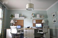 Benjamin Moore Palladian Blue Office Paint Color- with grey trim- light or dark