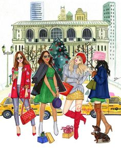 Christmas in the City Art Print Best Friend Drawings, Bff Drawings, Girl Drawing Sketches, Fashion Design Drawings, Fashion Sketches, Cute Fashion, Fashion Art, Fashion Illustration Dresses, Christmas In The City