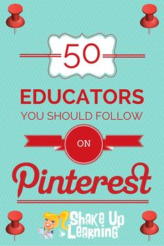 50 Educators You Should Follow on Pinterest - There are so many great educational resources on Pinterest. Here is a BIG list of educational pinners to follow. There is something for every type of educator: elementary, secondary, leadership, librarian, edtech, gadgets, technology and more!