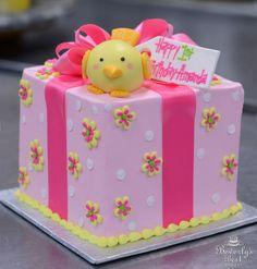 Fondant Chick Birthday Cake by Beverly's Best Bakery