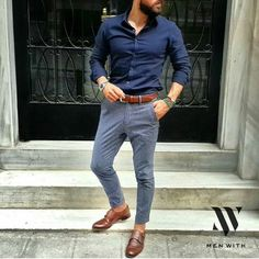 If you really want to stand out, pick grey pants with brown shoes and belt. The navy shirt makes this spring/summer outfit just perfect. #mensfashion