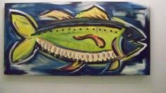 Large Fish Painting  Original Blues and Greens by recycledwoodart, $175.00