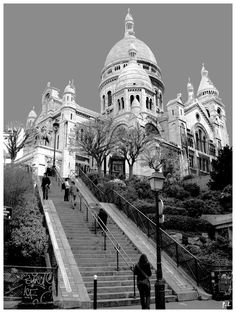 This photo from Ile-de-France, North is titled 'The Sacred Heart of Montmartre'. Paris Black And White, Black And White Photo Wall, Gray Aesthetic, Black And White Aesthetic, Paris Pictures, Paris Photos, Paris Photography, White Photography, Venus In Leo