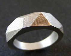 Faceted ring Geometric ring Sterling silver wedding by EVANORY