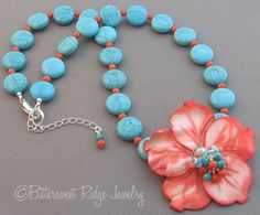 Tropcial Hibiscus Flower Necklace Turquoise Coral Jewelry