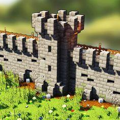 Qu'est-ce que vous en pensez de ce mur?  Follo - - - Qu'est-ce que vous en pensez de ce mur? Plantas Do Minecraft, Château Minecraft, Minecraft Castle Walls, Construction Minecraft, Minecraft Kingdom, Minecraft Building Guide, Minecraft Survival, Amazing Minecraft, Minecraft Blueprints