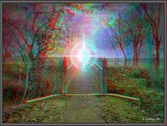 "A 3D Anaglyph stereo depiction of crossing over to ""life after life"". The concept is depicted by a path to a bridge where the transition begins. The transformation of the soul from the physical body as it departs the restraints of the physical world continues on as it is guided by a white light into the next realm of existence. The perceived horizon is full of beauty and wonderment. The mystery of what lies ahead is the beginning of a new journey into enlightenment."
