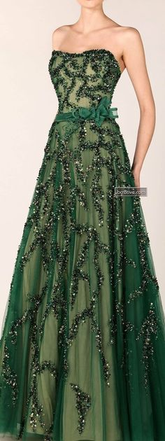Tony Ward. Absolutely love this shade of green, and how the sequins resemble ribbons of tinsel.
