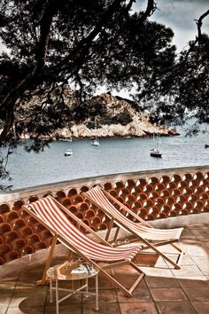 Provence, sea, trees, lounge chairs, boats, terrace