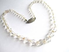 ART DECO Era Crystal Bead Strand Choker Necklace Fancy STERLING SILVER Clasp #UnsignedArtDecoCrystalBeadsFancyClasp #ChokerBeadStrandGraduatedBeadStrand