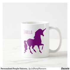 Shop Personalized Purple Unicorn Silhouette Beautiful Coffee Mug created by LilPartyPlanners. Personalize it with photos & text or purchase as is! Kids Silhouette, Stainless Steel Coffee Mugs, Purple Unicorn, Personalized Coffee Mugs, Beautiful Fairies, Unicorn Gifts, Funny Coffee Mugs, Magical Creatures, Coffee Travel