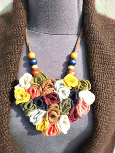Heart shaped statement necklace  from reclaimed sweaters.