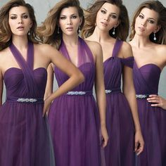 Bridesmaid Short Dresses Cheap Purple 2015 Summer Convertible Bridesmaid Dresses For Beach Wedding Party With Sweetheart One Shoulder Tulle Beaded Long Prom Gowns Burgundy Bridesmaid Dress From Bling_wedding_shoes, $80.11| Dhgate.Com