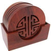 Coaster Set Wooden Longevity, Asian Style Coasters