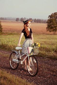 fashion, bike style, hat, summer, skirt, old bike, flowers