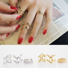 Fashion Geometry 3Pcs/Set Fashion Design Stack Above Knuckle Nail Mid Ring Delicate