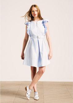Sky blue knee-length dress with ruffled sleeves femme - tara jarmon 3