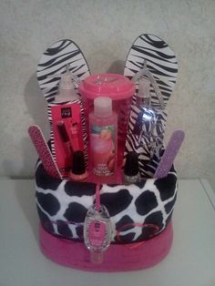 Mani/pedi gift basket looks pretty simple too!  Great gifts for the girls friends when they get older