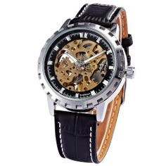 AMPM24 Skeleton Mens Automatic Auto Mechanical Sport Leather Wrist Watch PMW226 | Your #1 Source for Watches and Accessories