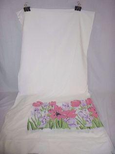 Vtg Burlington Vera Neumann Pink Floral Flower King Flat Sheet Muslin 50/50