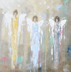 """""""Angels Whispering Among Us"""" - Giclee paper print or canvas print of original art, abstract, angels painting depicting 5 guardian angels walking among us; guarding, protecting, providing peace & comfort. This hand-painted, contemporary, spiritual painting possesses a comforting sense of peace and calm, with its' natural earthy shades and contrasting colors of pale blues, greens, golds, & textured layers of paint. By purchasing this print, you are becoming someones angel, & are making an…"""