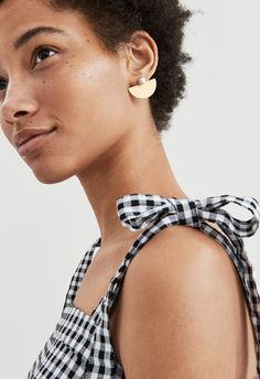 madewell tie-strap tank worn with the ball front-back earrings.