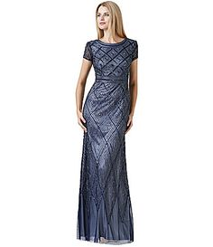 $340 - has a gorgeous back. Skirt looks pretty at bottom. Adrianna Papell Geometric Beaded Gown #Dillards