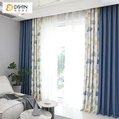DIHIN HOME Leaves and Blue Printed, Blackout Grommet Window Curtain for living room, inches, 1 panel. Living Room Decor Curtains, Home Curtains, Living Room Windows, My Living Room, Window Curtains, Modern Curtains, Curtains With Sheers, Curtain Ideas For Living Room, Neutral Curtains