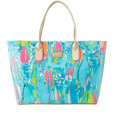 Lilly Pulitzer Lilly Pulitzer Breezy Tote ($138) ❤ liked on Polyvore featuring bags, handbags, tote bags, blue tote handbags, summer tote handbags, summer totes, summer handbags and blue tote bag