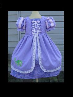 Rapunzel Custom Dress w/Corset Detail(-----)Pascal Embroidery(-----)Grosgrain Ribbon Trim Sleeves(-----)Sizes 12 Months- Girls Size 8 via Etsy