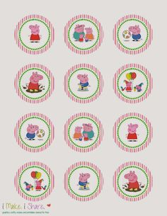 Peppa Pig Cupcake Template