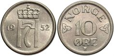 Norway Norwegian 10 Ten Ore Coins Europe Norge Coins For Sale, Great British, Coin Collecting, Europe, Personalized Items, Pray