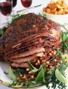 Baked Virginia Ham, recipe by Ina Garten....I've made it with similar ingredients minus the mango chutney and brown sugar. I used Bourbon and honey as a flavoring agent. It works nicely.