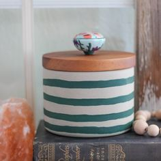 Striped Concrete Canister
