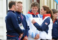 Kate seemed to thoroughly enjoy her day out on the water and was joined by Sir Steve Redgrave, Princess Anne and her husband Sir Timothy Lawrence on a boat watching the female competitors before heading for land and finding time to meet the men's sailing team and sharing a joke with gold medal winner Ben Ainslie.
