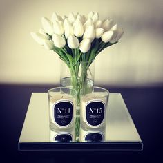 White tulips, Kayla Bombardier candles, mirror candle tray, home decor, interior inspiration www.abodeaustralia.com