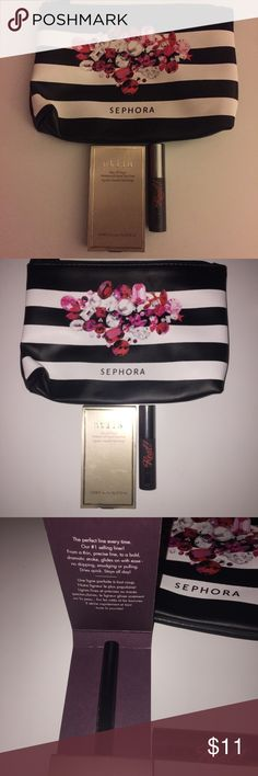 Stila Liquid Eyeliner + Benefit Mascara Bundle Brand new and unopened. Comes with a free Sephora makeup bag. Travel Size Stila Stay All Day Liquid Liner in black (0.008oz) and Travel Size Benefit They're Real Mascara in black (0.1oz) Authentic. Comes with extra free samples! Price is firm. Sephora Makeup Eyeliner