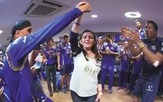 Mumbai indians continued their winning celebrations after returning to hotel. Mumbai Indians defeated Rising Pune Supergiants by 1 run in a last over thriller bowled by Johnson Nita Ambani, Ipl 2017, Mumbai Indians, Private Life, Finals, Beats, Concert, Celebrities, Sexy