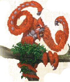 Argopelter (Aberration)(Medium) – Strange baboon-like monsters that hunt from their high trees by throwing sharp splinters of wood with the speed of bullets at their victims. They are in possession of four very strange whip/vine like arms (looks much like Demogorgon from D&D) which they can move as quick as light and use as effectivly as whips. (Fearsome Critter)