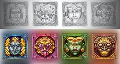 """Graphic design of symbols for the game slot-machine """"Ikitan's quest"""" http://slotopaint.com/"""