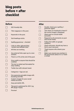 Blog posts before + after checklist — blogging tips | #blogging…