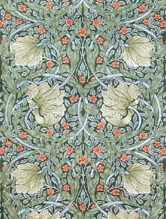 Pimpernel – Handprint. Designed in 1876. Used in the billiard room at Wightwick Manor. Available  in two colourways from www.HistoricStyle.com.