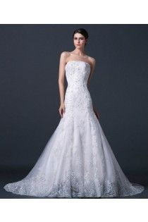 Strapless Corset Mermaid Lace Wedding Dress With Sweep Train