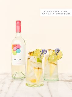 Pineapple lime sangria spritzer recipe for spring. In partnership with @7DWine. #ad